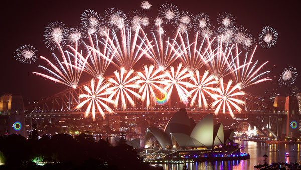Water displays and Air shows on New Years Eve, Sydney Harbour